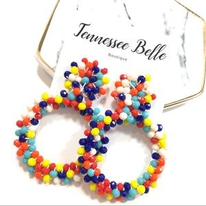 Beaded Multi-Color Rainbow Circle Down Earrings